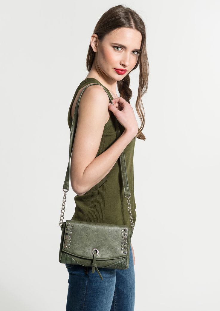 Small flat leather bag with shoulder strap .