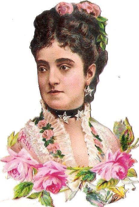 Oblaten Glanzbild scrap die cut chromo Lady Dame 9cm femme portrait Frau  Rosen