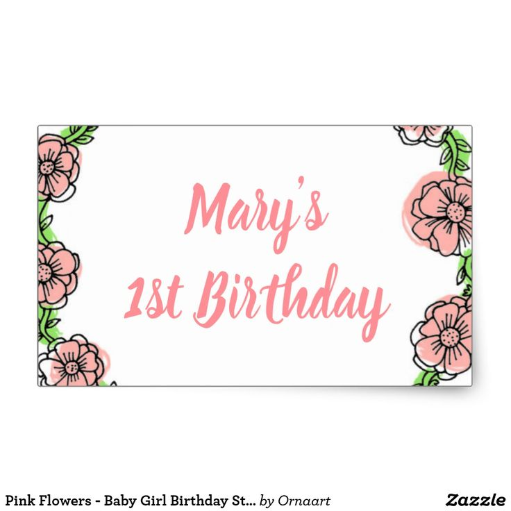 Pink Flowers - Baby Girl Birthday Stickers