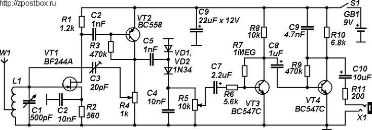 Circuit diagram of the regenerative shortwave receiver