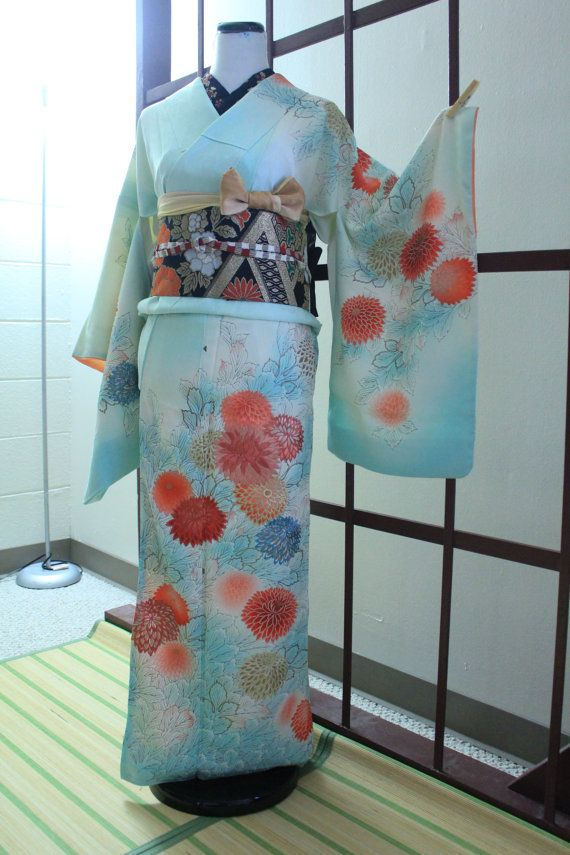 Antique Showa Japanese Houmongi Kimono Dyed Painted by Choutama