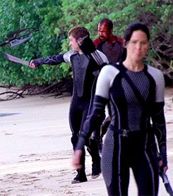BTS Blood Rain Catching Fire (GIF) PART 2 - Jen's chewing gum and Josh is probably messing around with Sam.