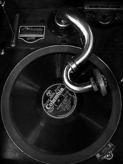 Columbia Record on Antique Victrola