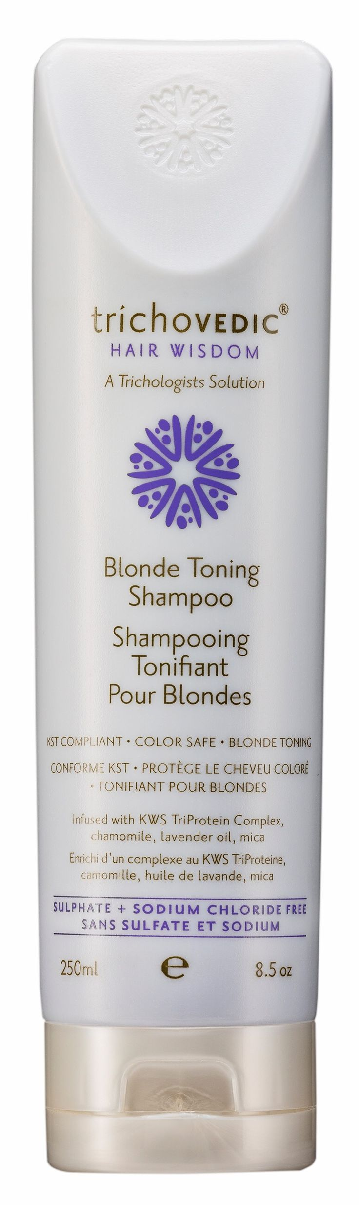 Blonde Toning Shampoo - available in 250ml & 2Lt. A hypoallergenic blonde toning shampoo which is suphate, sodium chloride and paraben free. Formulated for Keratin Smoothing Treatment aftercare and blonde and grey hair. It is particularly suitable for sensitive skin / scalp. Incorporating FadeProtect+ Shine Complex, Chamomile, Lavender Oil and FD&C Violet & Blue to tone yellow, add incredible shine and protect colour. Formulated from natural glucose and coconut oil and infused with KWS…