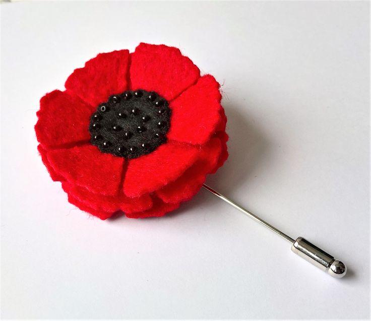 Mak na szpilce - broszka / Brooch with felt poppy
