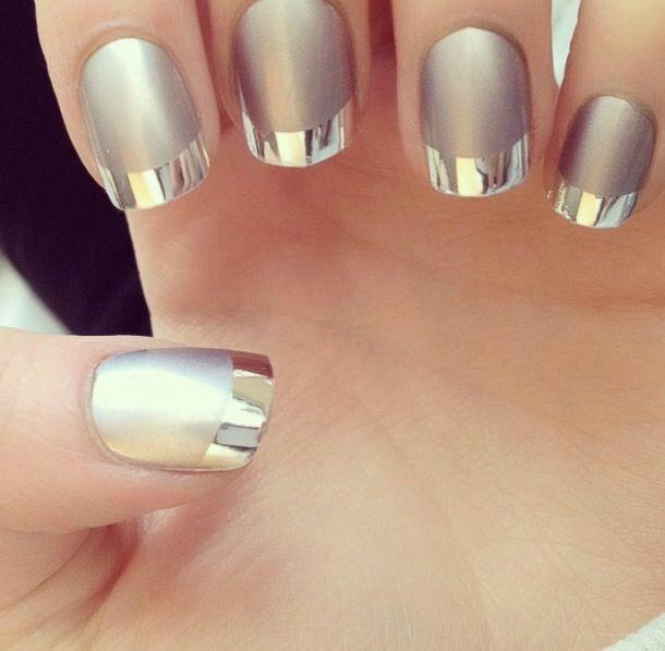 Chrome tips metallic nails