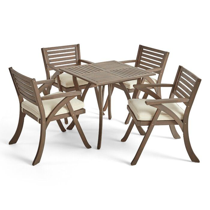 Where To Shop Ajax 5 Piece Teak Dining Set With Cushions Click Now Outdoor Dining Set Outdoor Dining Chair Cushions Outdoor Dining Chairs