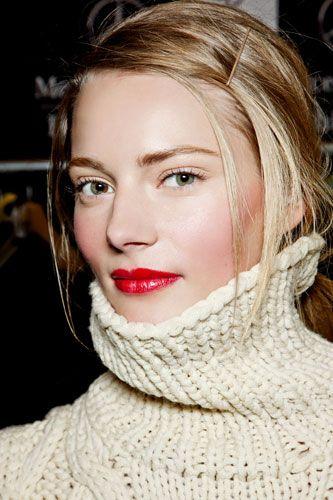 Red lips & cheeks. Minimal eye filled brows.