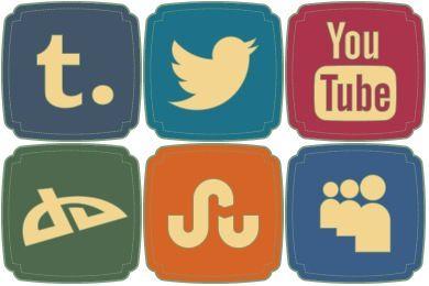 Free Retro Style Social Iconset (20 icons) | DesignBolts