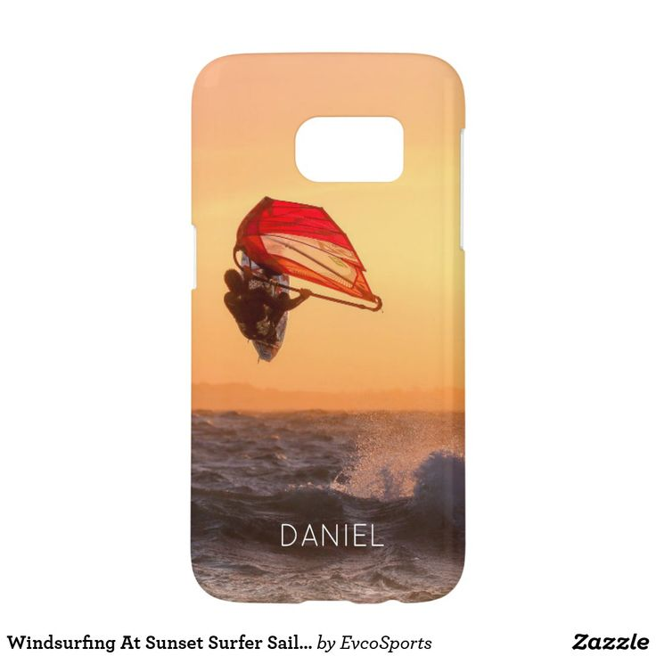 Windsurfing At Sunset Surfer Sailboarding