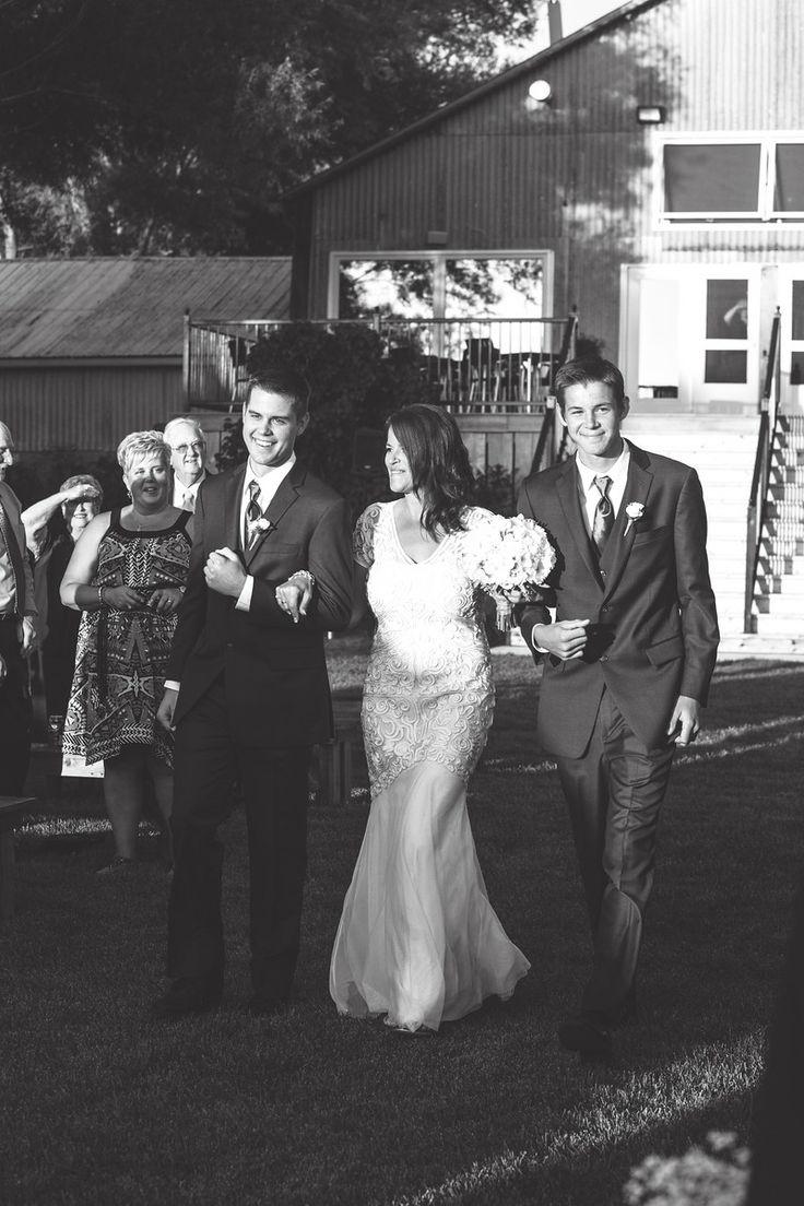 Sons Giving Away Mom- Barn Wedding- Garden Ceremony