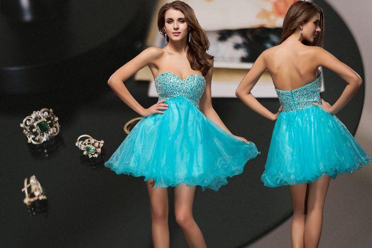 #Vestido de #Cóctel #Escote Corazón #Tul #Lentejuelas Corte A - Persun.es