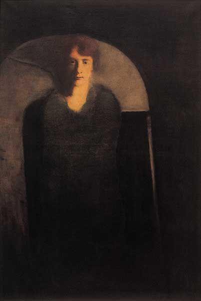 Josef Šíma, Podobizna umělcovy ženy, 1928, olej, plátno, 156 x 105 cm, Galerie hl. města Prahy.