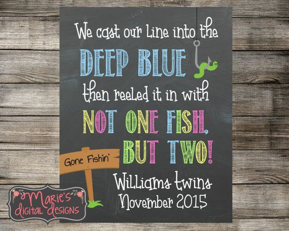 Printable Twins Chalkboard Pregnancy Announcement - Cast Our Line Into The Deep Blue, Reeled It In With Not One Fish But Two! Photo Prop