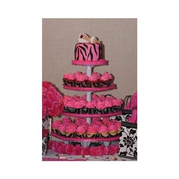 Hot pink and black zebra theme baby shower ❤ liked on Polyvore featuring cakes