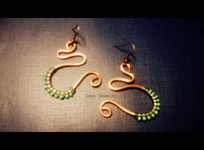 Copper earrings.