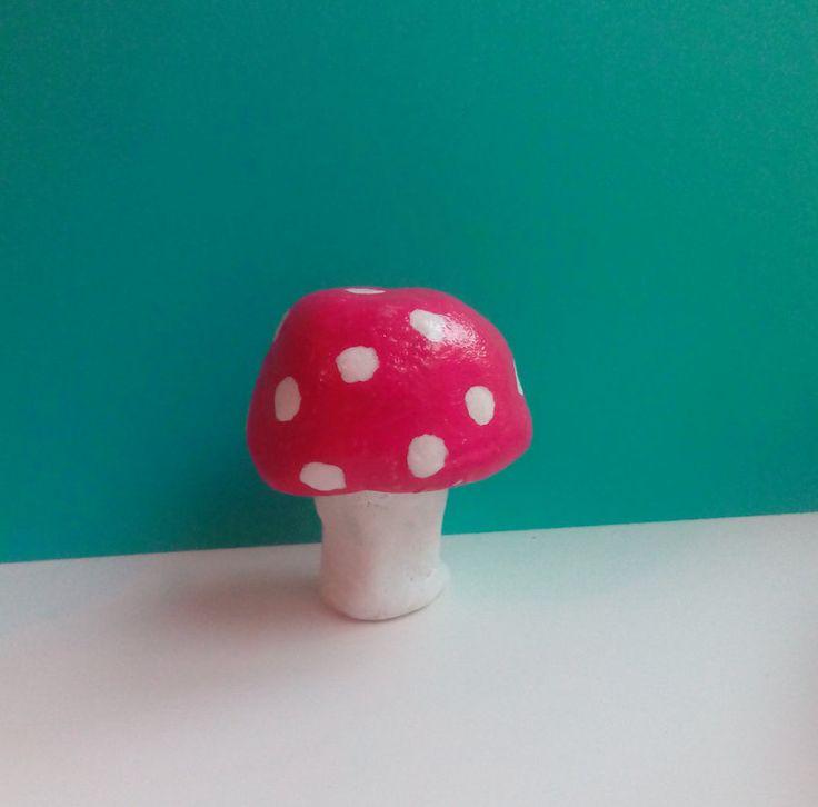 Hand made clay figurine -mushroom- toadstool by Nokireki on Etsy