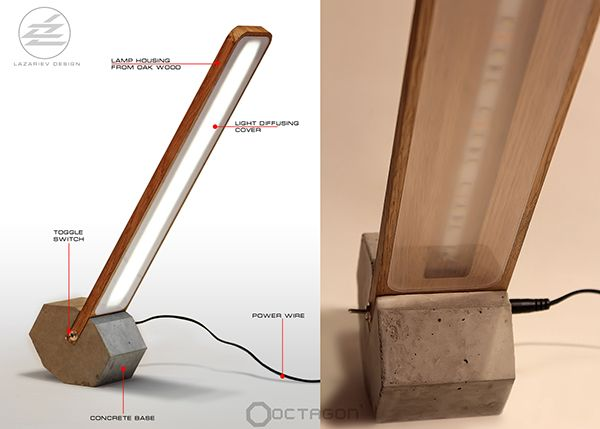 Faceted rolled desk LED lamp Octagon-1 on Behance