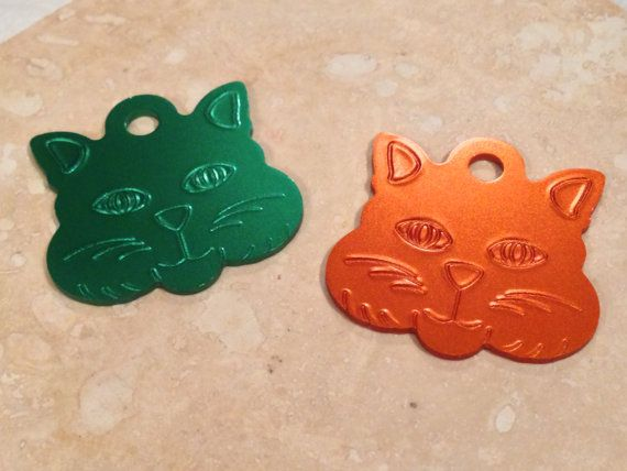 Laser Engraved Large Kitty Face Cat Tag by SPCustomAluminum, $6.50