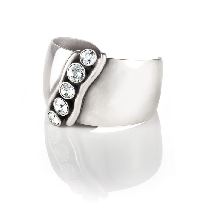 Bold burnished Silver cuff with Swarovski crystals from Miglio