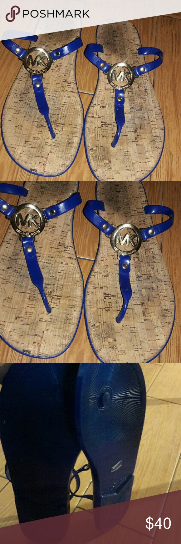 Michael kors charm jelly cork thong sandals 11m Still good condition just cute blue color size 11 Shoes Sandals