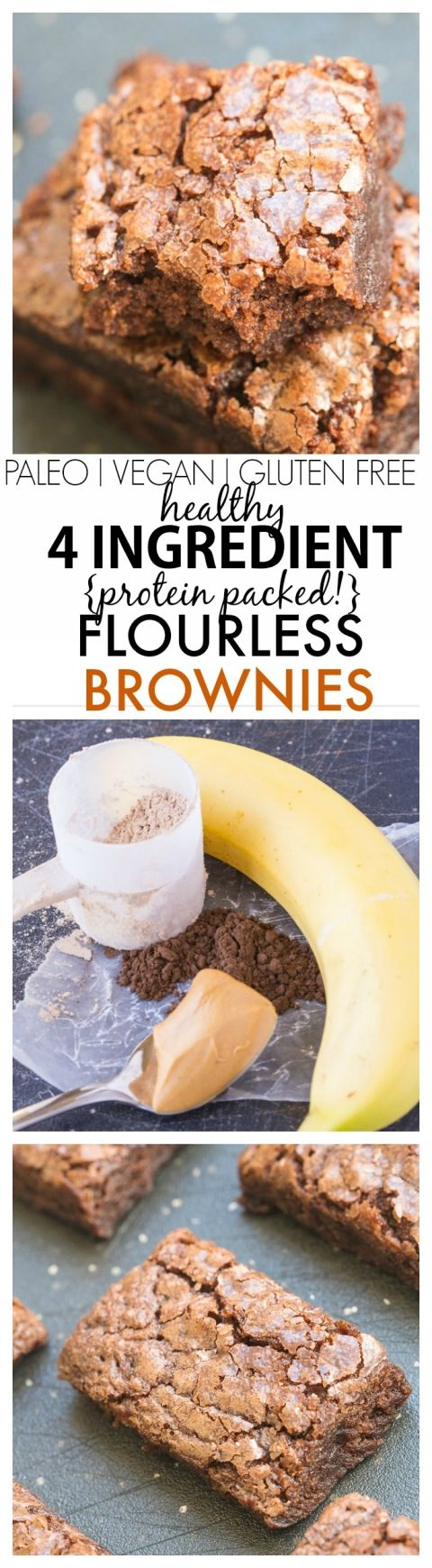 Four ingredient Flourless Protein Packed Brownies recipe- No butter, oil or flour needed to make these rich, dense, subtly sweet brownies packed with protein- A quick and easy snack which DON'T taste healthy! vegan, gluten free, refined sugar free, paleo option #clean #recipes #healthy #snack #recipe
