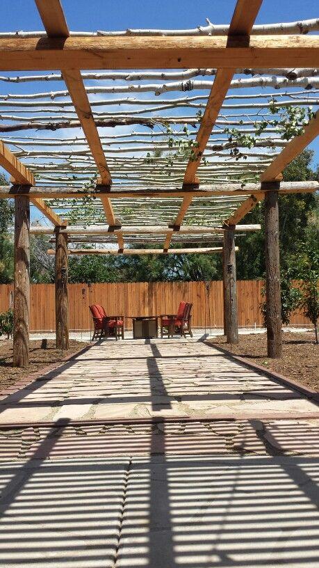 Utility  pole pergola finished with aspen trees