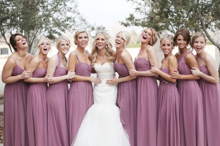 Love these pink bridesmaid dresses! Photo by Feather and Twine Photography. www.wedsociety.com #bridesmaids