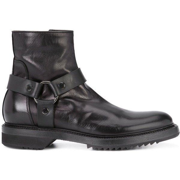 Rick Owens biker boots (11,950 CNY) ❤ liked on Polyvore featuring men's fashion, men's shoes, men's boots, black, mens leather boots, mens leather biker boots, mens leather motorcycle boots, mens leather buckle boots and mens black shoes
