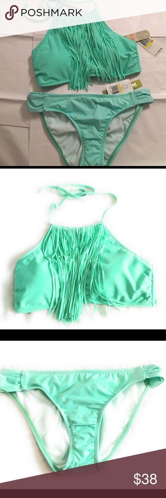 Gianni Bini Women's Solid Fringe High Neck  Set Gianni Bini Women's Solid Fringe High Neck Bikini  set Medium- Green Gianni Bini Swim Bikinis