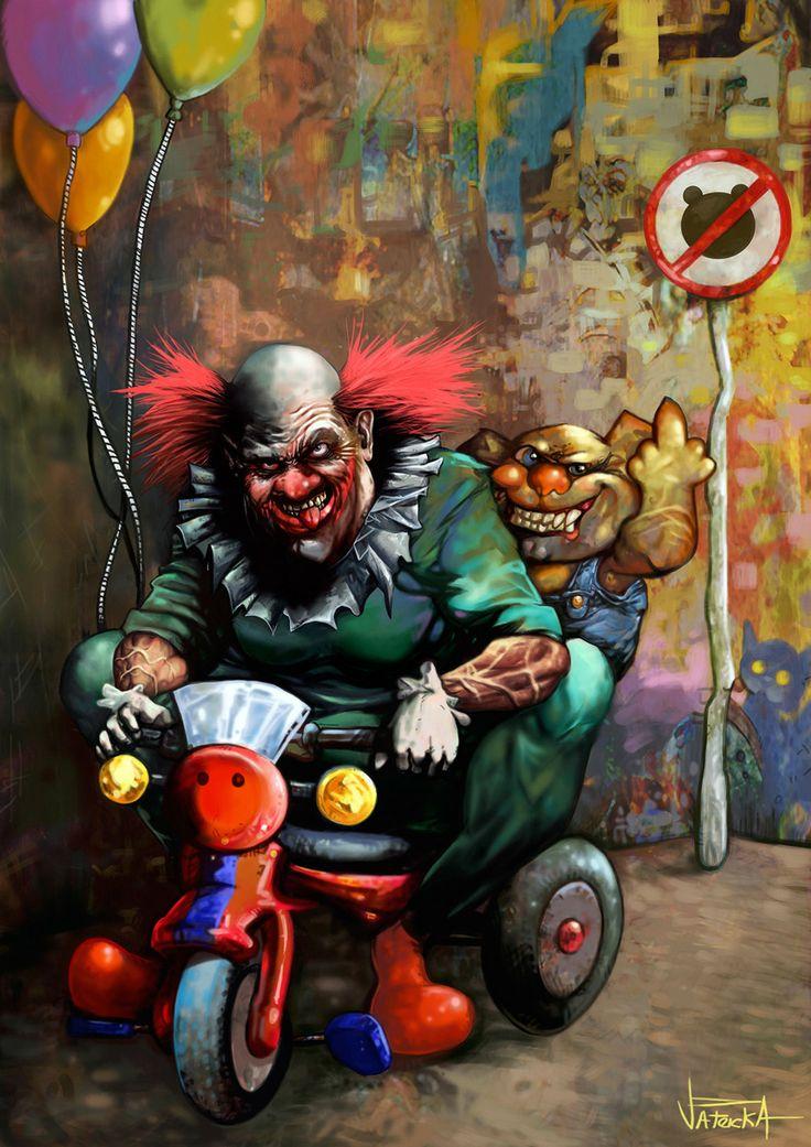 Monster clowns from cartoon Hell