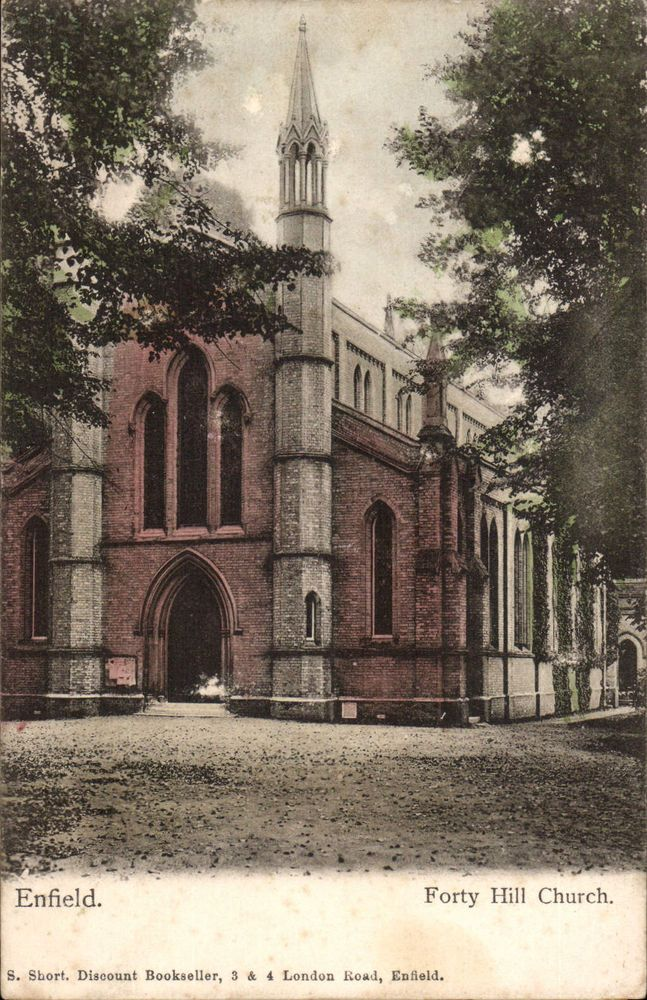 Enfield. Forth Hill Church by S. Short, Discount Bookseller, 3 & 4 London Rd. E~