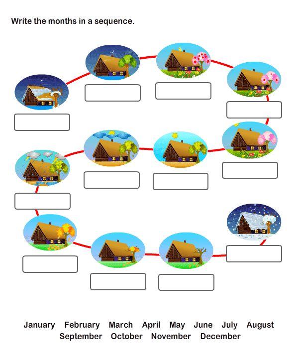 Twelve Months Worksheets for Kids,  Free Printable Worksheets for Kids.
