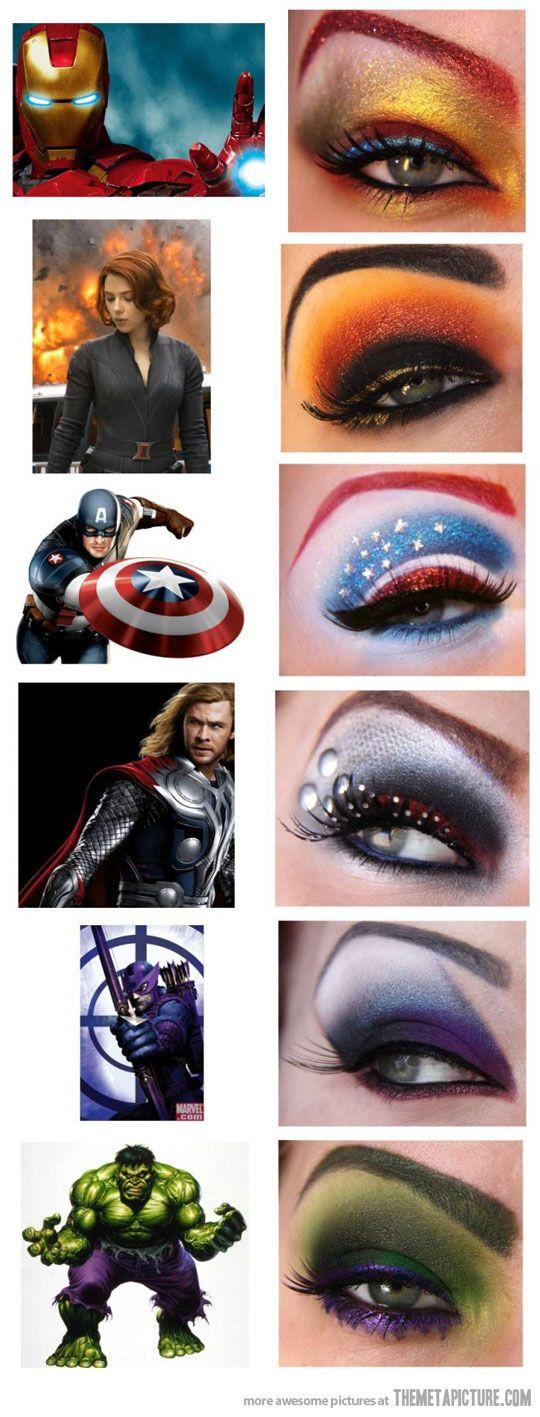 Avengers' Eye Makeup...ya know, if I was ANY good at doing makeup.