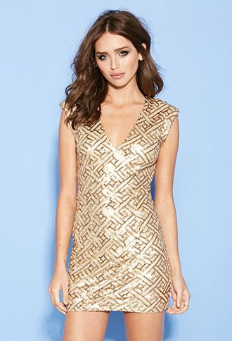 Sequined Geo Pattern Dress   FOREVER21   #thelatest