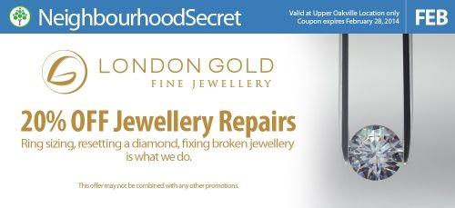 Get 20% off all jewellery repairs at London Gold. #Oakville #ShopLocal http://neighbourhoodsecret.net