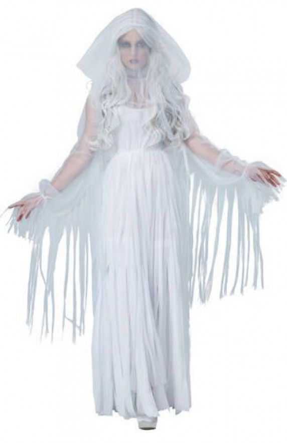 Ladies Ghost Costume Ghostly Spirit Adult Halloween Fancy Dress Outfit