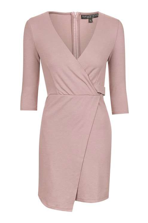 PETITE Ponte Wrap Mini Dress