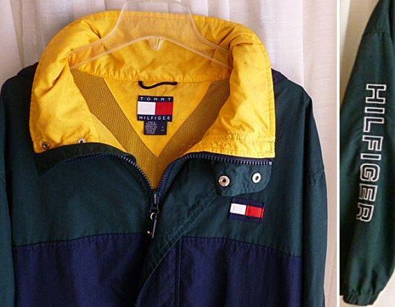 Vintage TOMMY HILFIGER Logo JACKET, Men's Size Large, Gently Worn, Windbreaker, Sleeve Logo, Boyfriend Jacket, Prep Campus, New England
