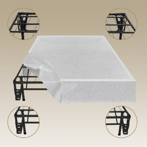 Sleep Master - Platform Metal Bed Frame/Foundation Set(SmartBase + Metal Brackets for Headboard & Footboard Attachment + Bed Skirt - QUEEN) - Perfect for Spring, Latex, and Memory Foam Mattresses $140