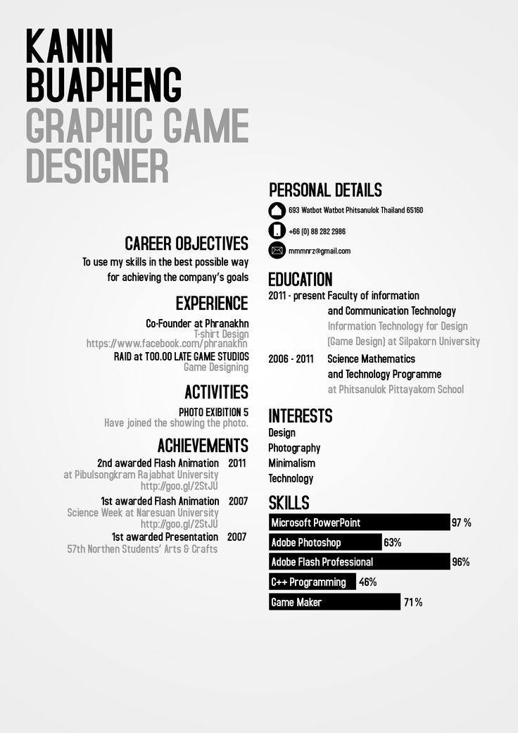 44 best RESUME images on Pinterest Resume design, Design resume - game design resume