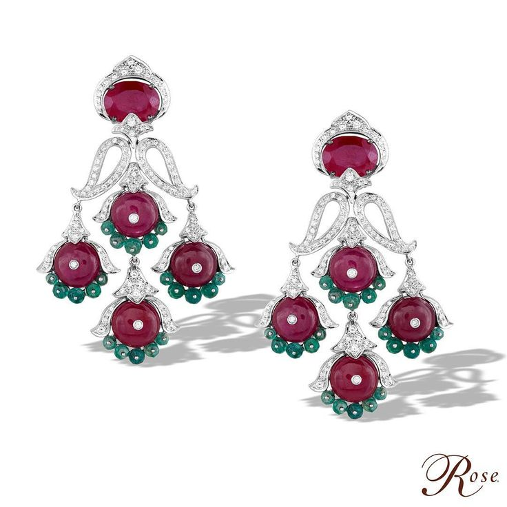 """A pair of earrings from our 'Colours of Life' collection crafted with brilliant cut #Diamonds, #Rubies and #Emerald beads only from @thehouseofrose…"""