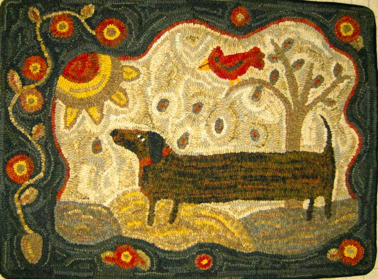 Hooked rugs: by Loretta Moore  (idea for Twinkle rug)