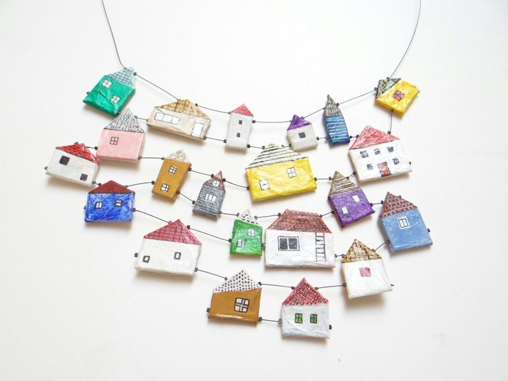 Papier mache village necklace on www.lora-nikolova.com