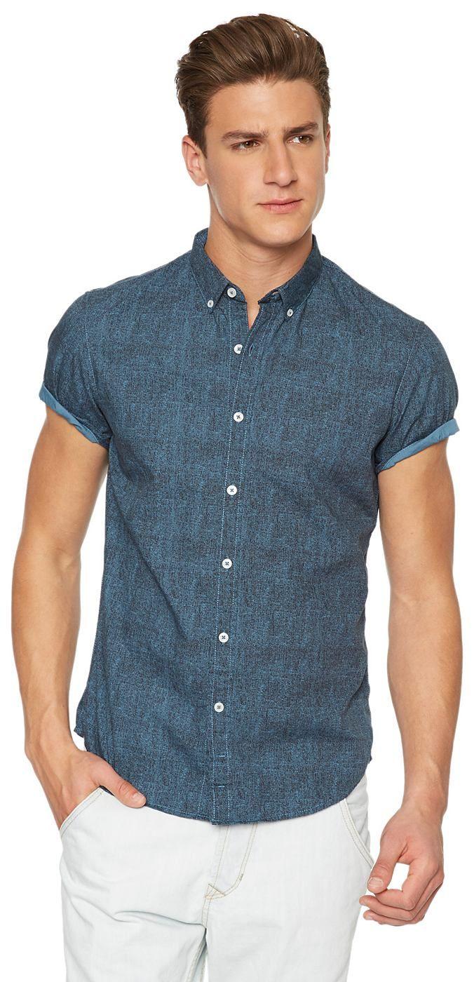 farbiges Button-Down-Hemd für Männer (unifarben, kurzärmlig mit Button-Down-Kragen) aus Baumwoll-Popeline, mit Auswaschung für den Used-Look, krempelbare Ärmel für einen lässigen Look. Material: 100 % Baumwolle...