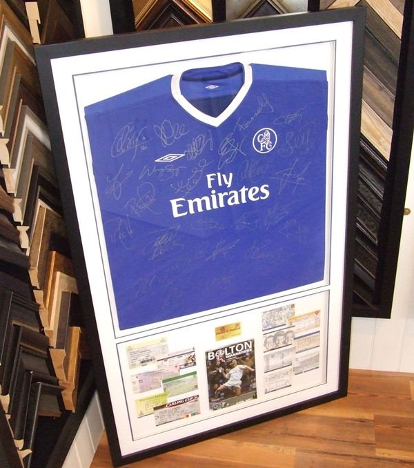 Here's a Chelsea Football Club shirt we framed recently, complete with tickets and programme