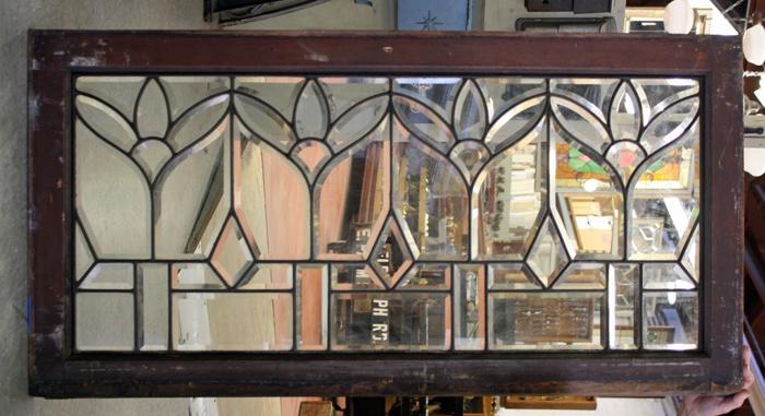 "Leaded/beveled glass window - 44"" long x 22 1/2""h $795.00"