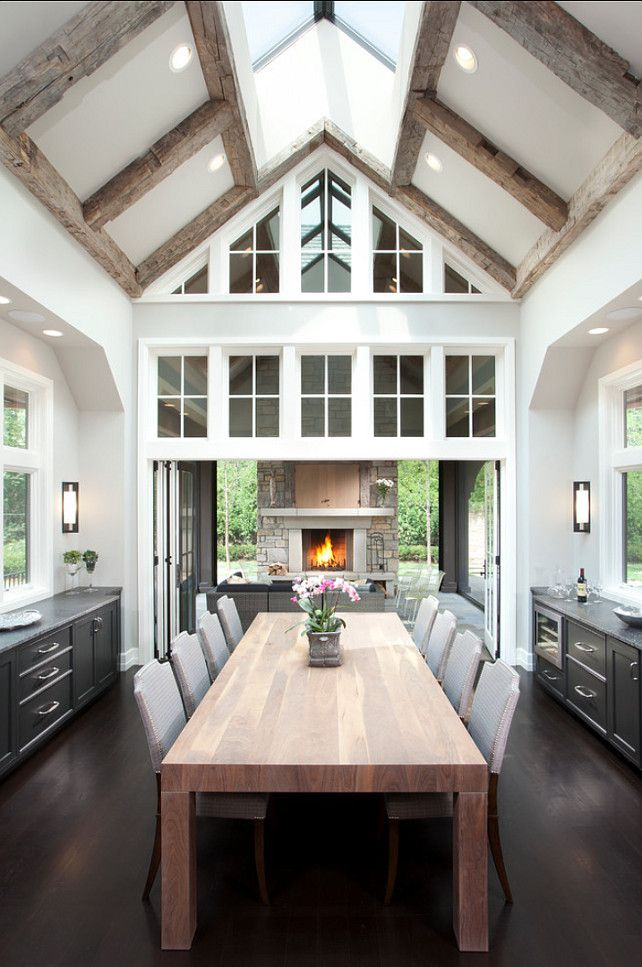 rustic beams with transitional look... like