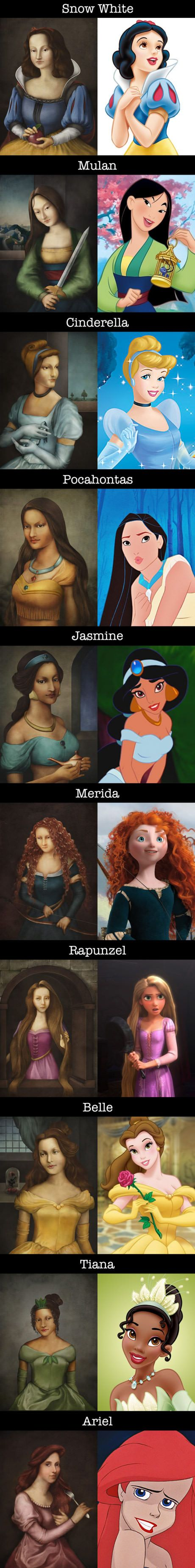 If Disney Princesses were drawn in Renaissance painting style