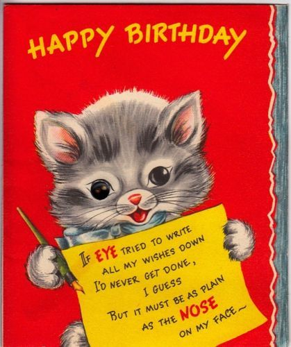 Vintage Greeting Card Kitty Cat (O350)